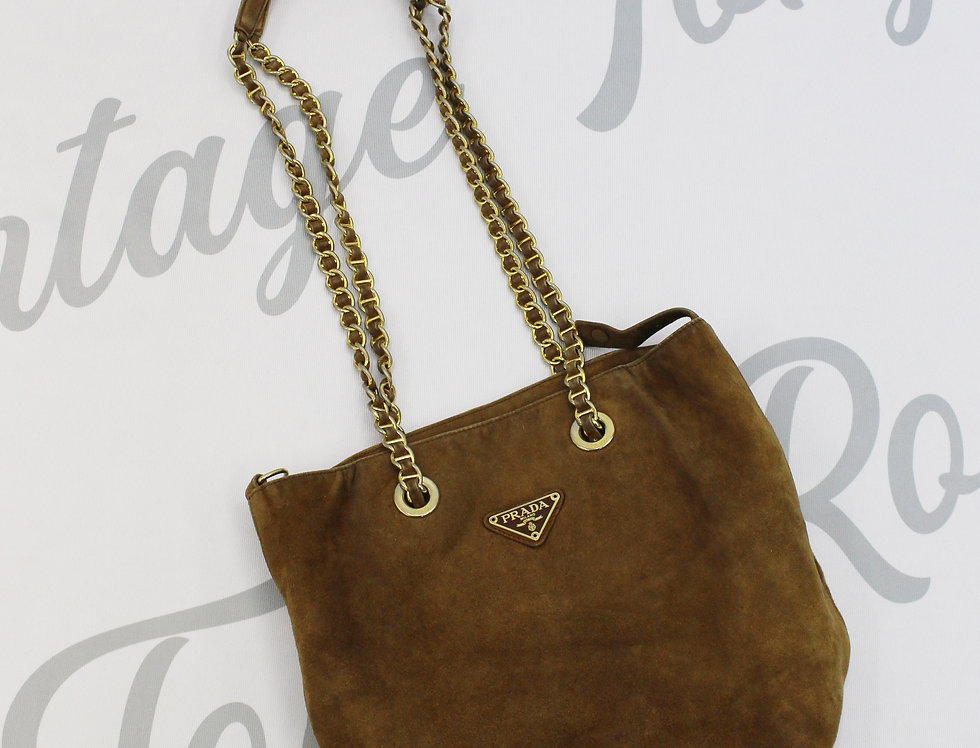 Prada Brown Suede Leather Chain Bag