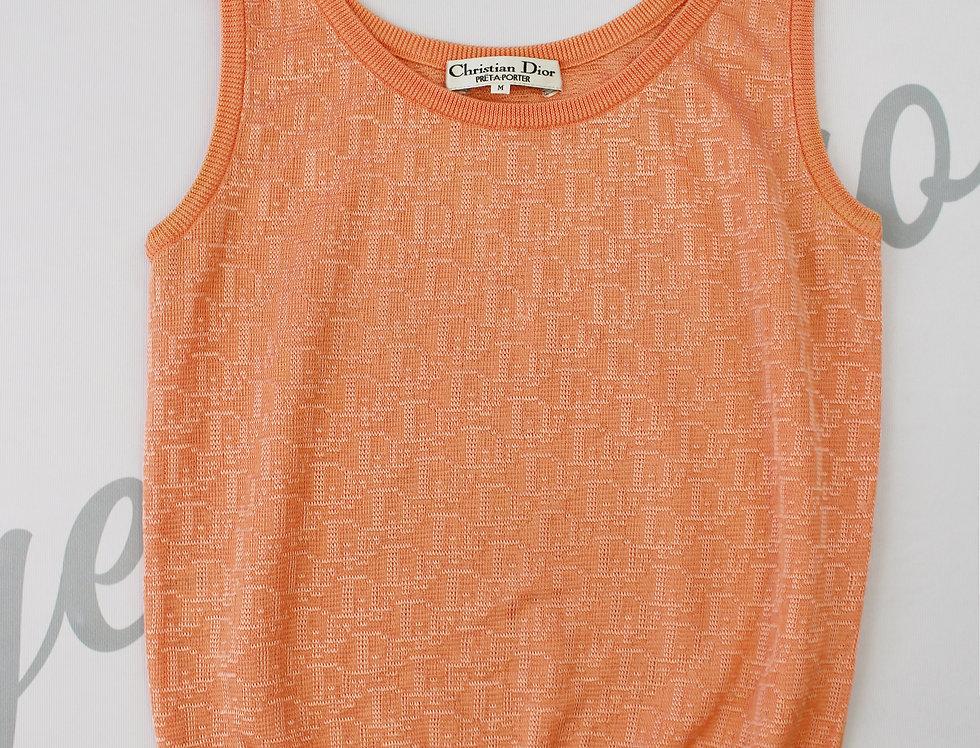 Vintage Christian Dior Orange Knit Top Trotter Logo Monogram