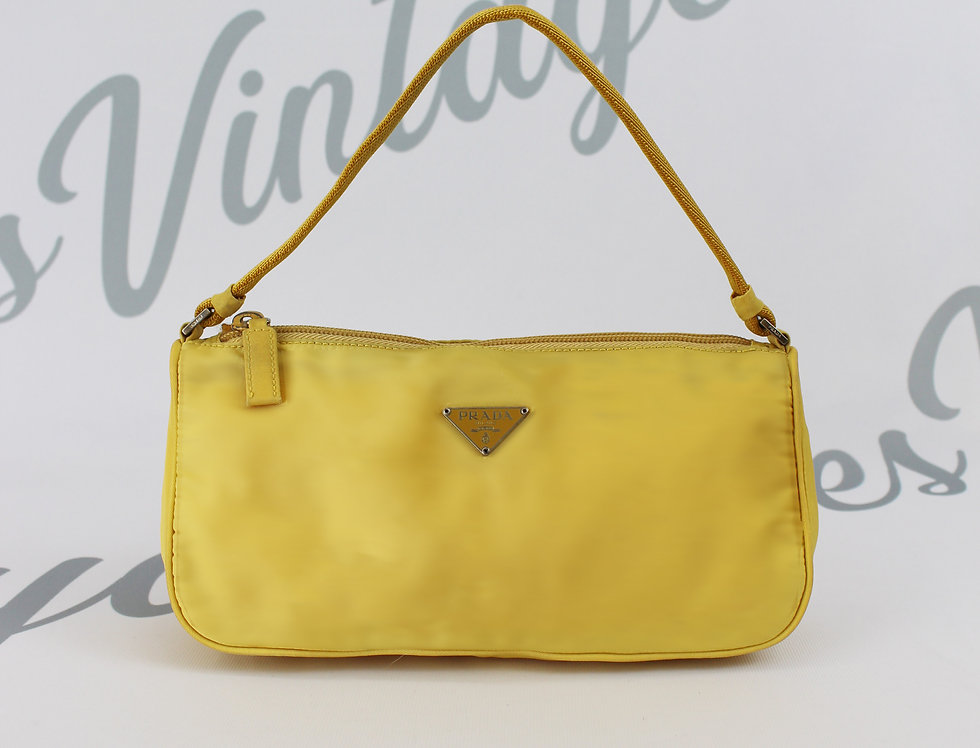 Vintage Prada Handbag Yellow Nylon Mini Bag
