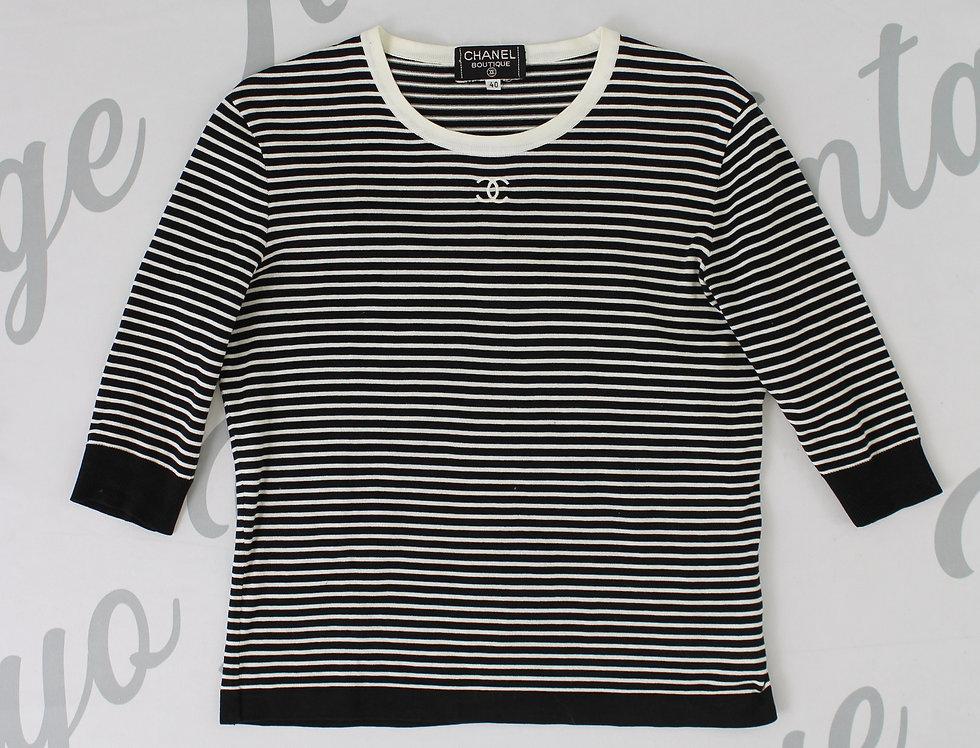 Chanel Striped Stretch Shirt CC Logo Chest
