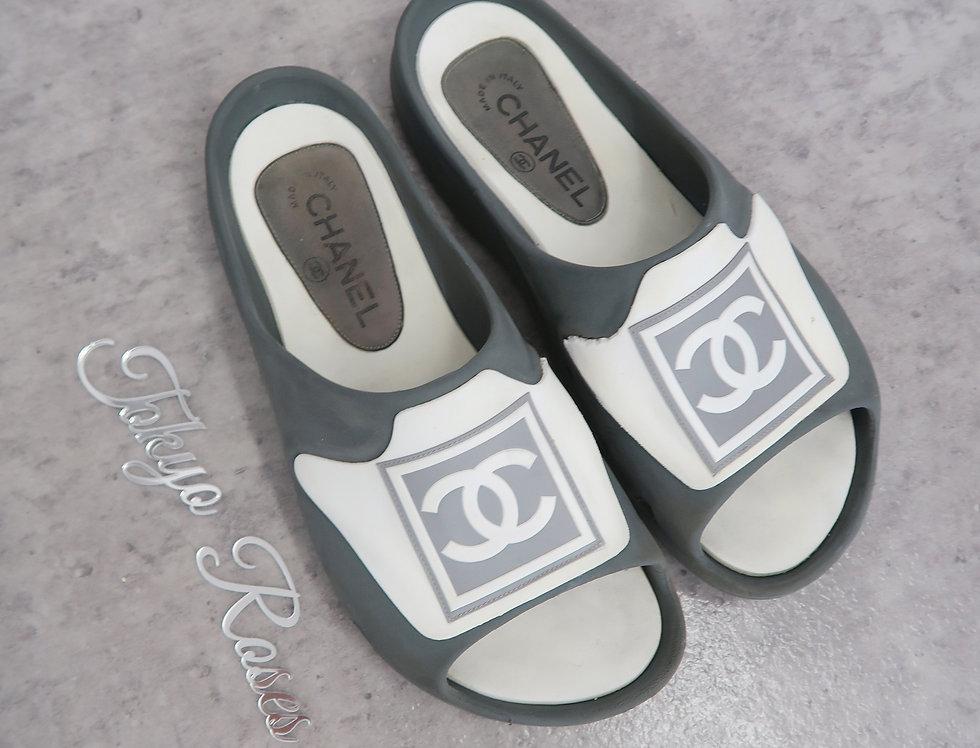 Chanel Sport Grey & White Slides Shoes