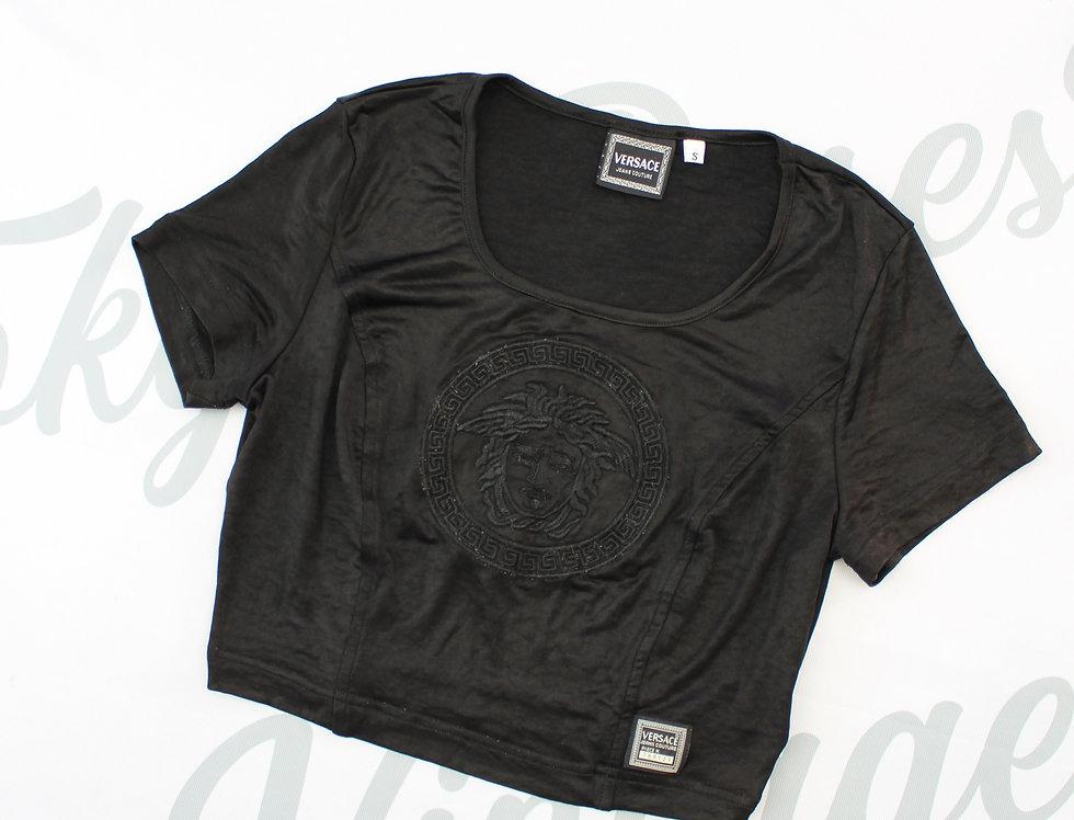 Black Versace Short Sleeve Crop Top Medusa Logo