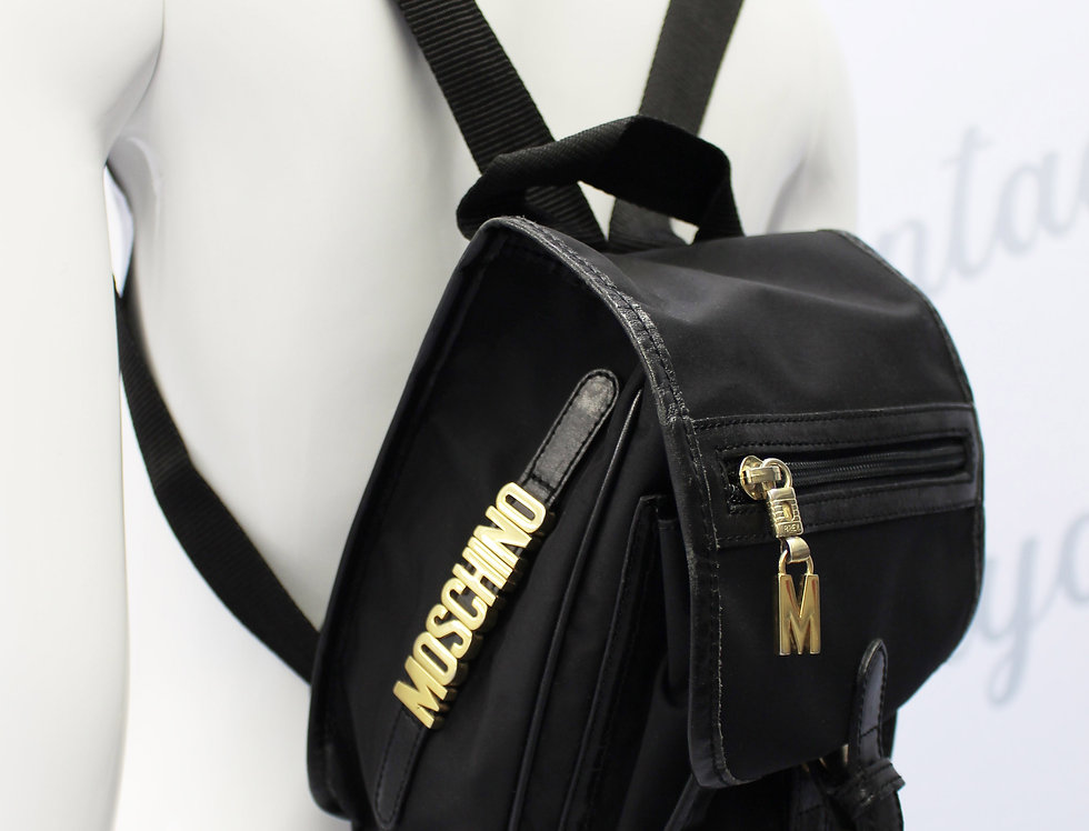 Vintage Moschino Black Mini Backpack Gold Logo