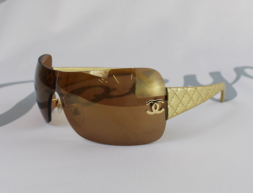 Chanel Rimless Gold Quilted Sunglasses