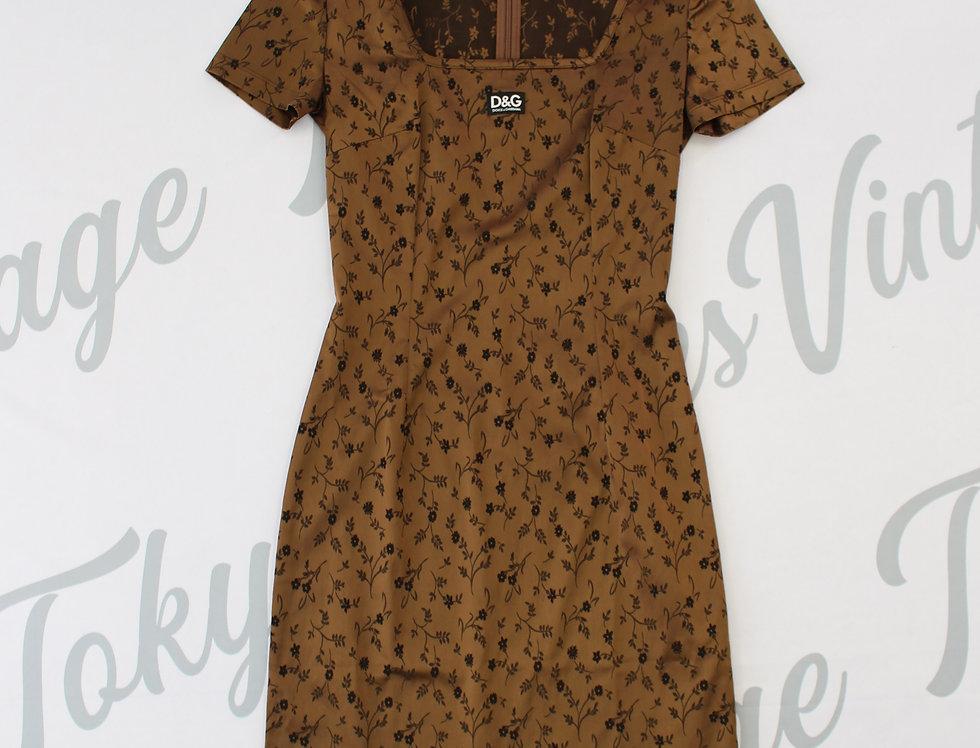 Dolce & Gabbana D&G Brown Dress Short Sleeve Logo Chest