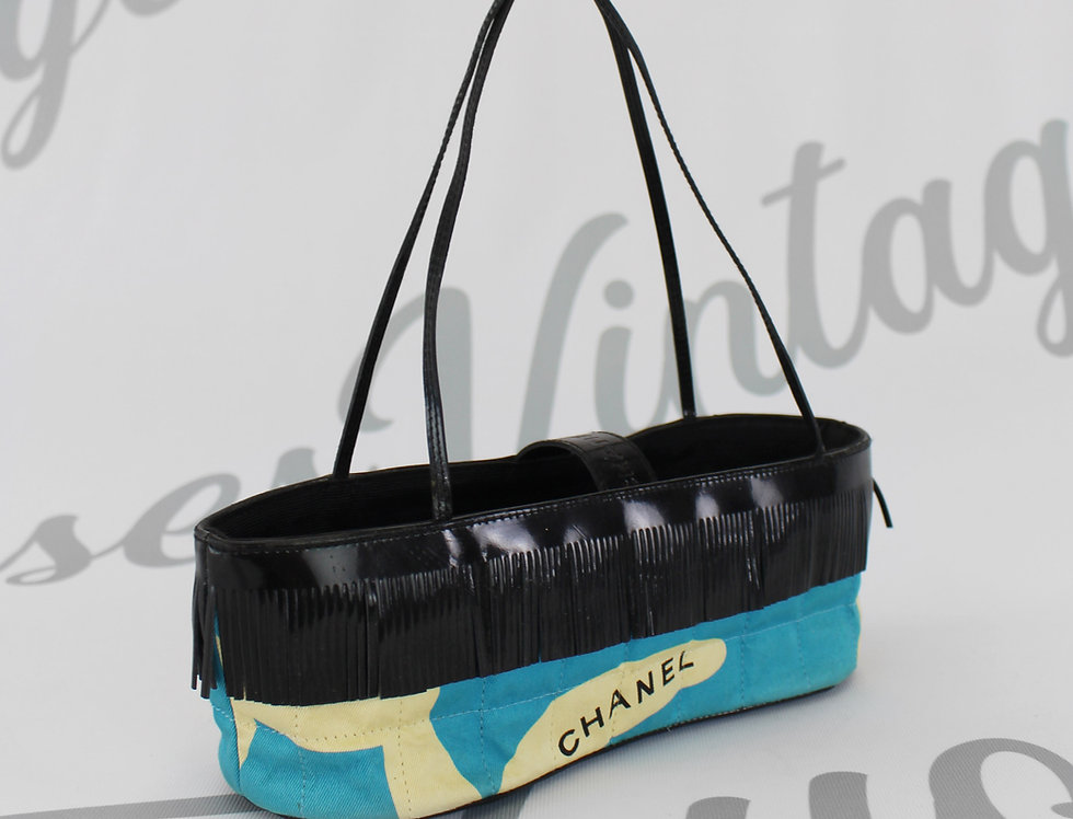Chanel Blue Square Quilted Fringe Mini Bag