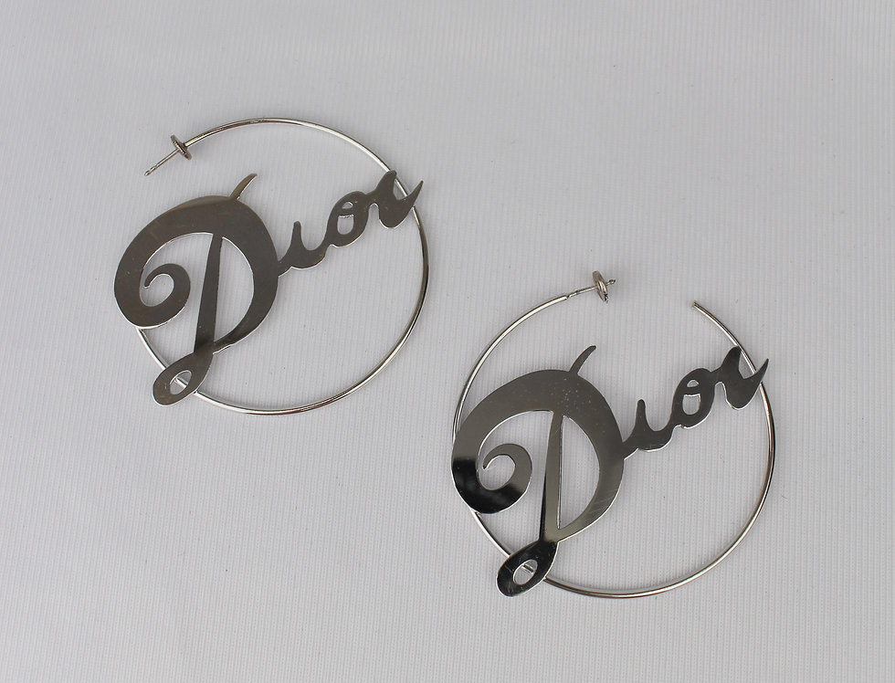 Christian Dior Silver Large Logo Hoop Earrings
