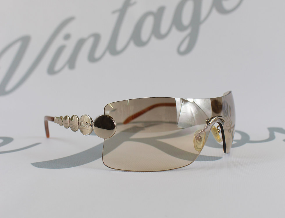 Dior Light Brown Rimless Glasses Silver Arms
