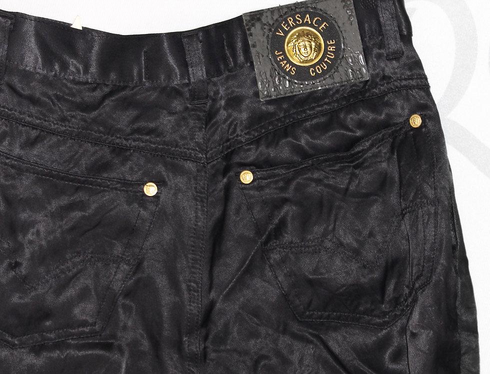 Versace Black Silky Pants Gold Tone Details