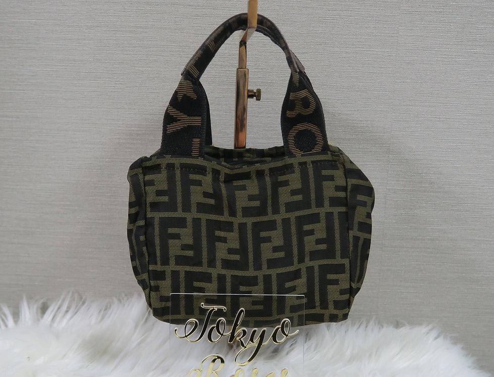 Fendi FF Zucca Logo Print Handbag Purse Bag