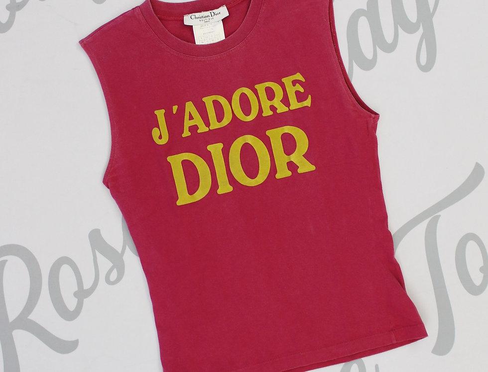 Christian Dior Pink & Yellow J'adore Dior Logo Print Sleeveless Tank Top Jadore