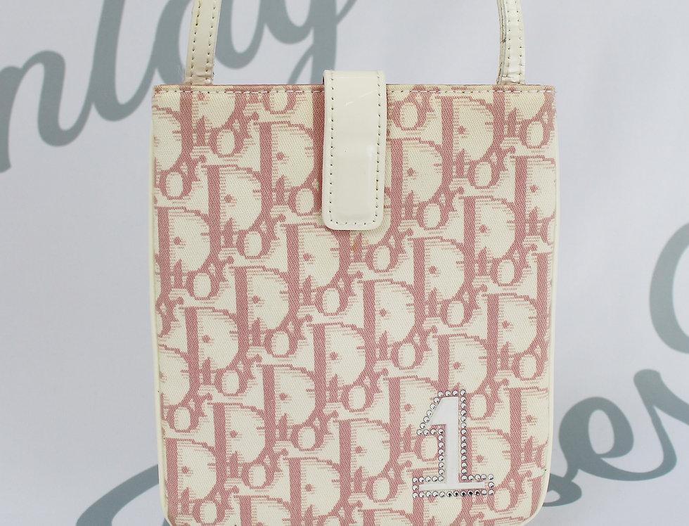 Christian Dior Pink Monogram Rhinestone 1 Crossbody Bag
