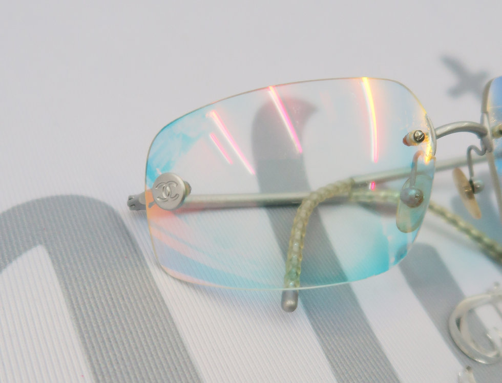 Big Chanel Rainbow Holographic Tinted Glasses