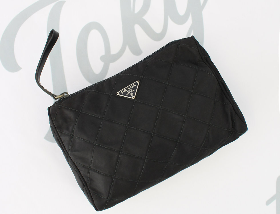 Vintage Prada Nylon Clutch Quilted Black