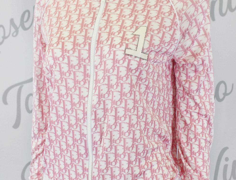 Christian Dior Pink Zip Up Jacket Diorisimo Logo Monogram Print