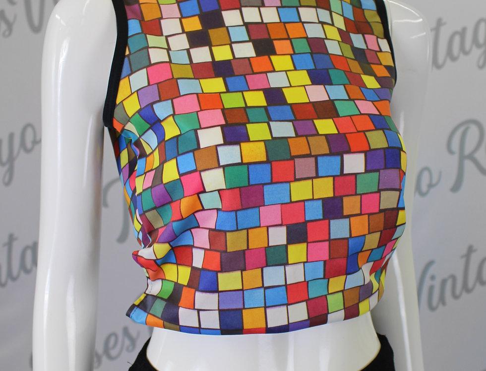 Todd Oldham Sleeveless Top Rubiks Cube Rainbow Shirt