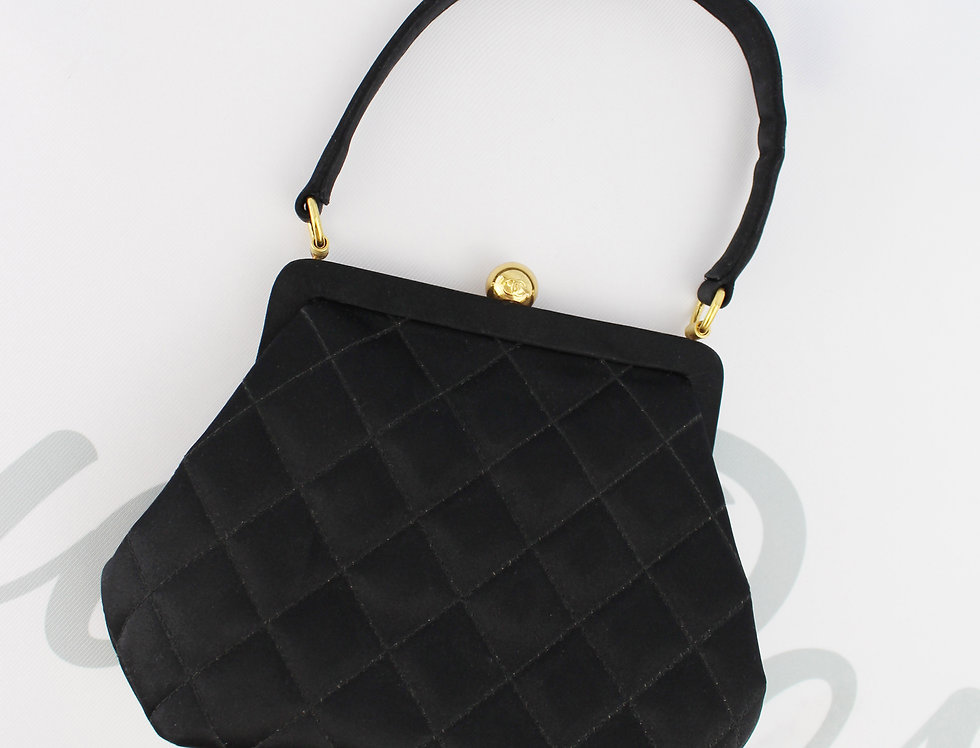 Chanel Black Satin Evening Bag Top Handle