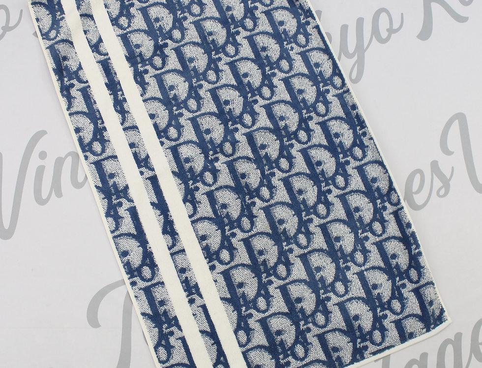 Christian Dior Blue Trotter Logo Monogram Towel