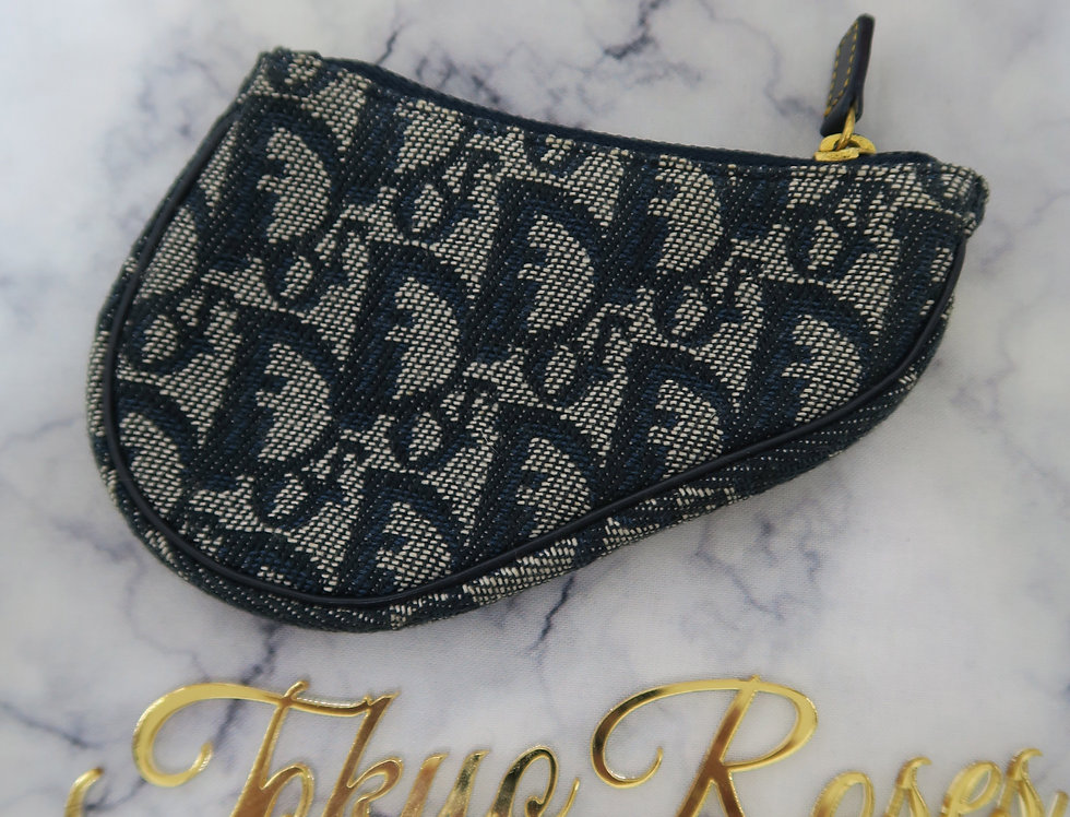 Christian Dior Coin Purse Pouch Saddle Trotter Navy Blue Canvas