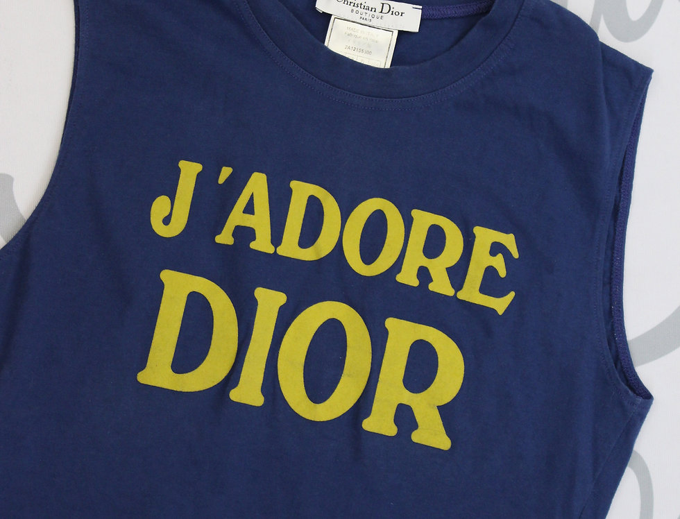 Christian Dior Blue & Yellow J'adore Dior Logo Print Sleeveless Tank Top Jadore