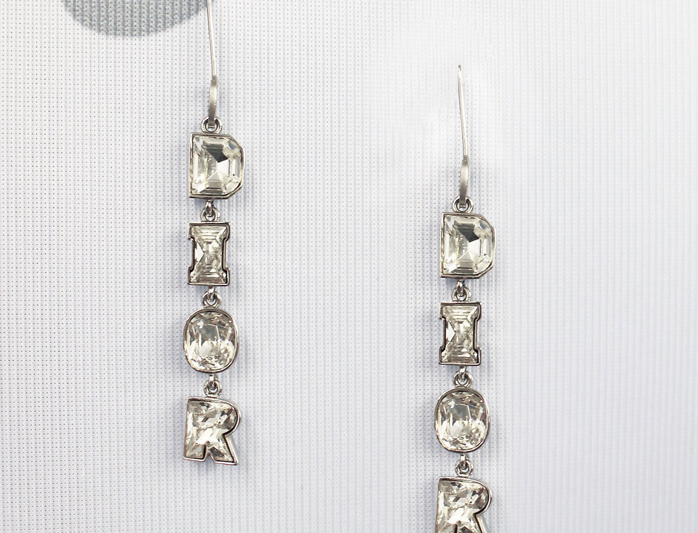 Christian Dior Crystal Letter Drop Earrings