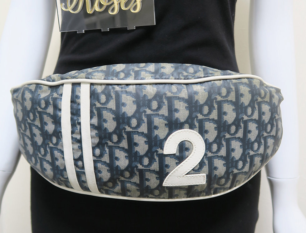 Christian Dior Blue & White Trotter Monogram Logo Print Bum Bag Fanny Pack