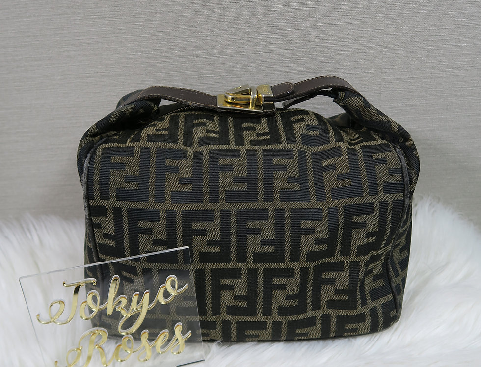 FENDI Zucca Canvas Vanity Cosmetic Pouch Bag Brown