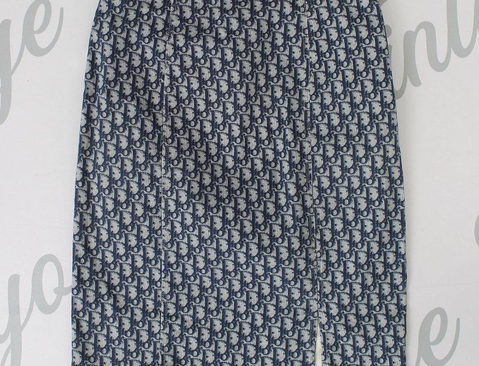 Christian Dior Blue Logo Monogram Print Pencil Skirt