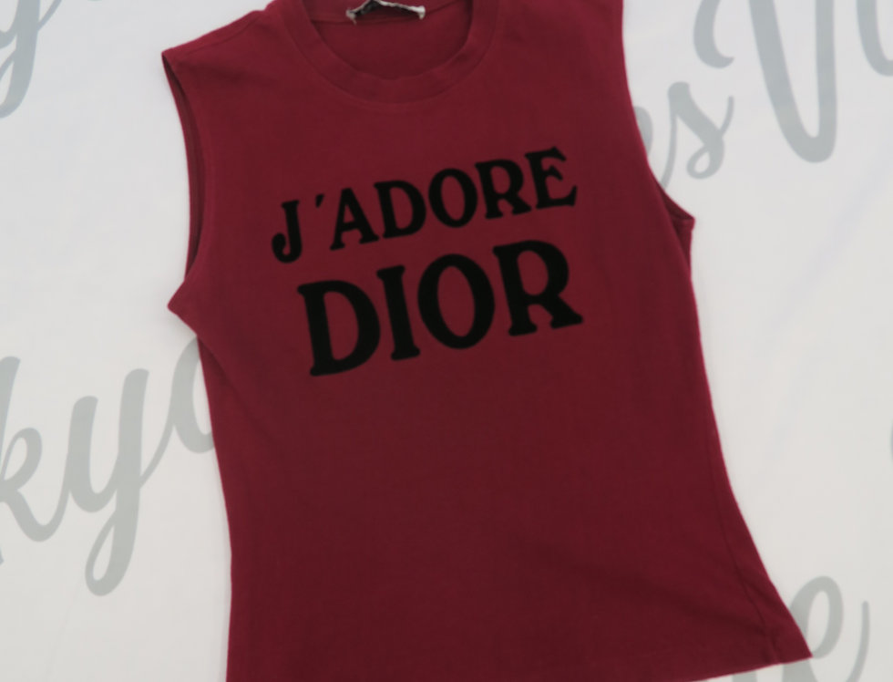 Christian Dior Red J'adore Dior Logo Print Sleeveless Tank Top Jadore