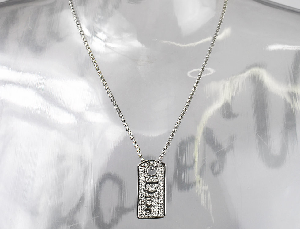 Dior Rhinestone Dog Tag Necklace Crystal Chain