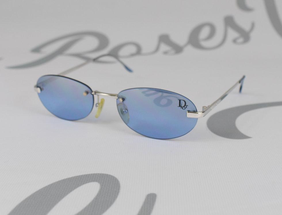 Blue Christian Dior Logo Lens Sunglasses