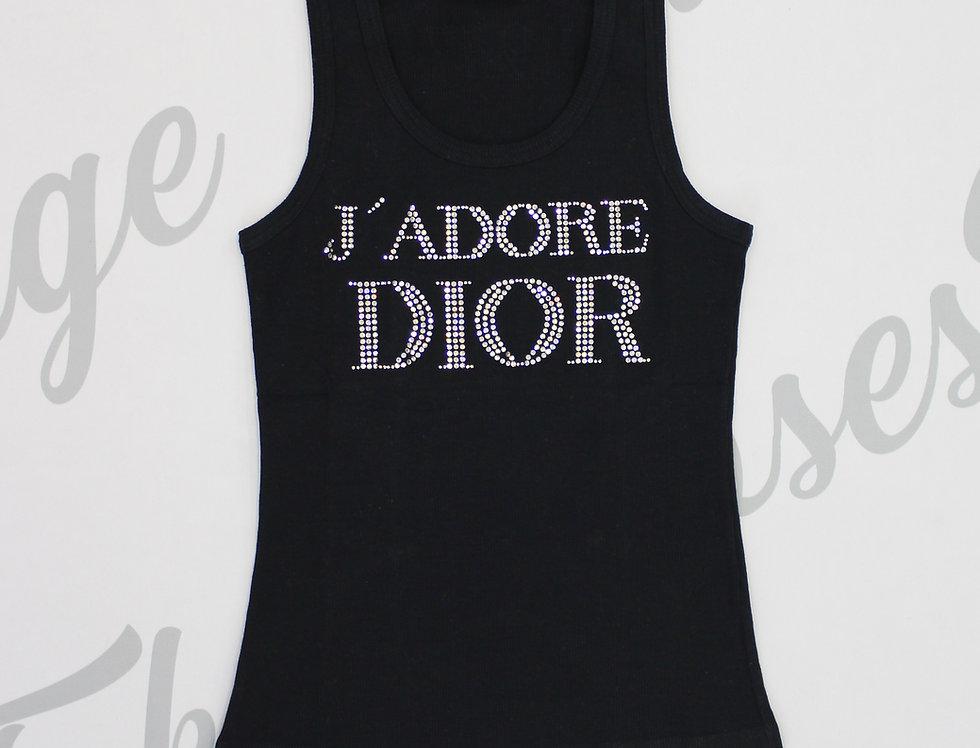 Christian Dior Black J'adore Dior Rhinestone Crystal Logo Tank Top