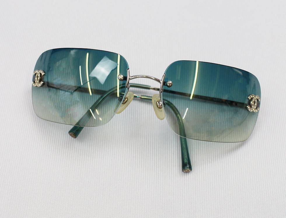 Vintage Chanel Teal Tinted Sunglasses Rhinestone Glasses
