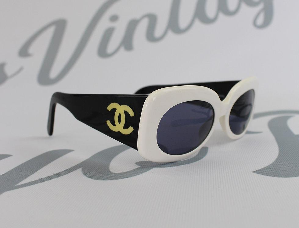 Chanel Spring 1995 Runway Black White Sunglasses
