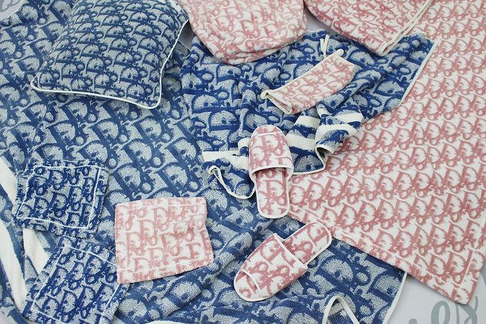tokyo roses vintage dior towel pink blue