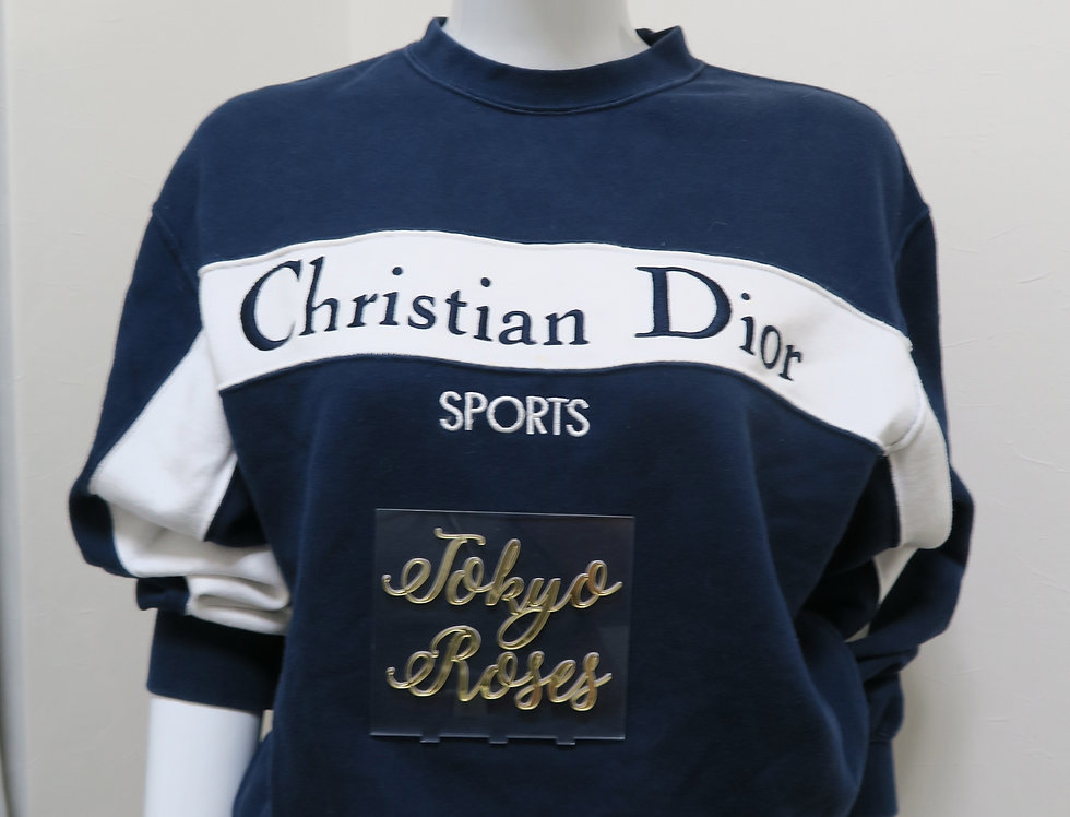 Vintage Christian Dior Sports Sweater Navy Blue Jumper
