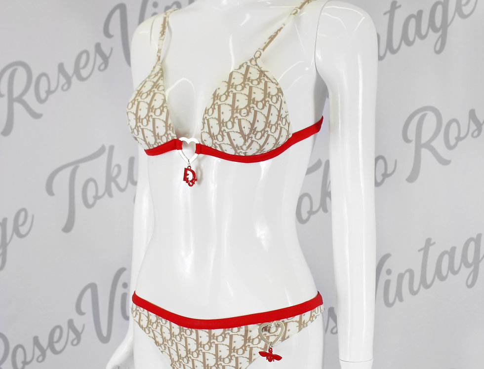 Christian Dior Beige and Red Trotter Logo Monogram Print Bikini