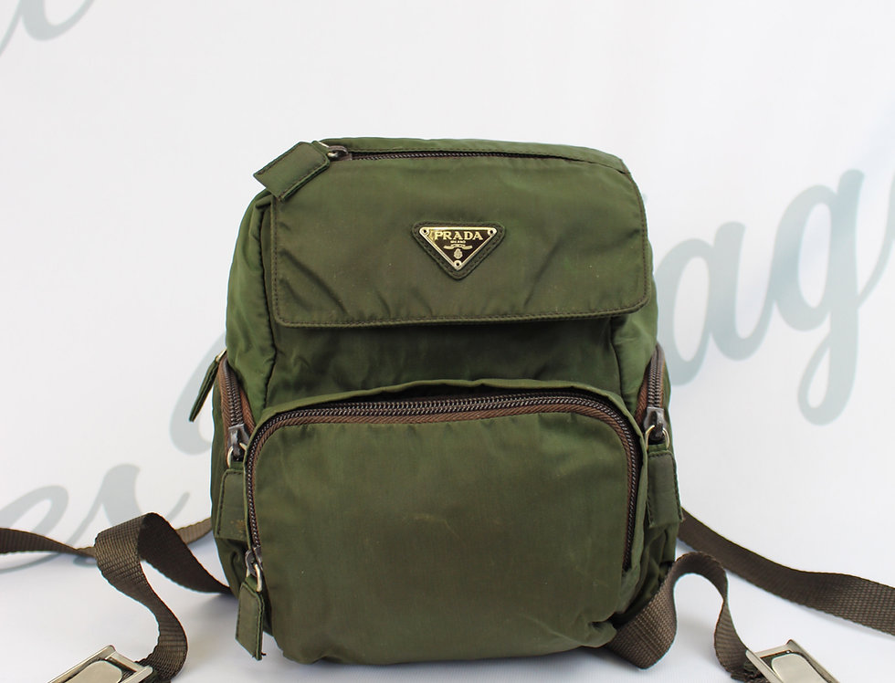 Vintage Prada Nylon Backpack Khaki Mini
