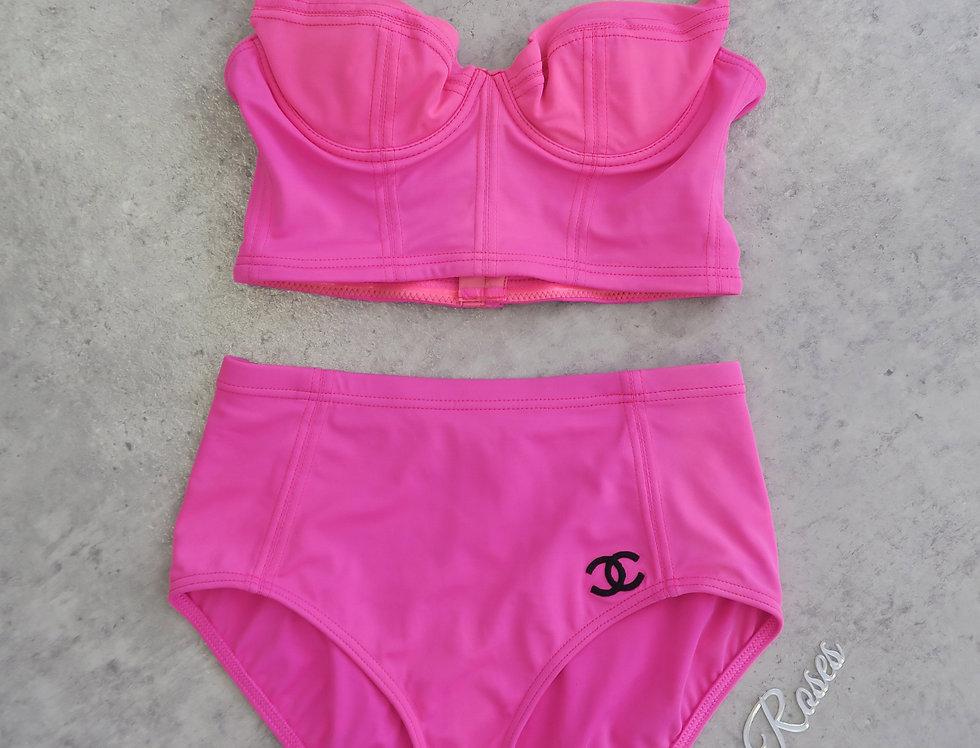 Chanel bikini corset bustier high waist bright pink CC
