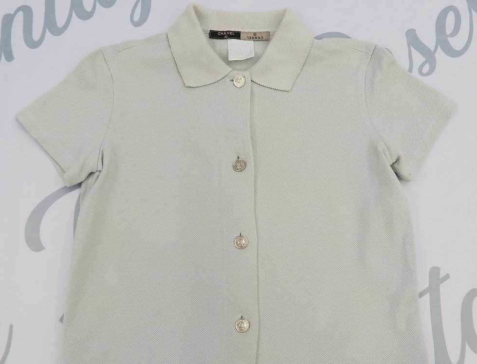 Chanel Light Muted Blue Polo Button Up Shirt CC Logo Chest