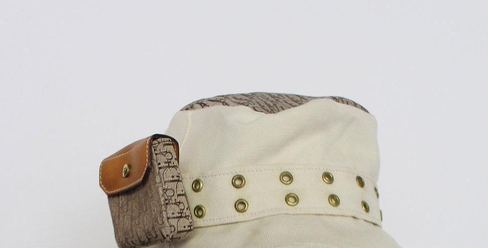 Christian Dior Trotter Diorrisimo Monogram Print Bucket Hat w Pouch Vintage