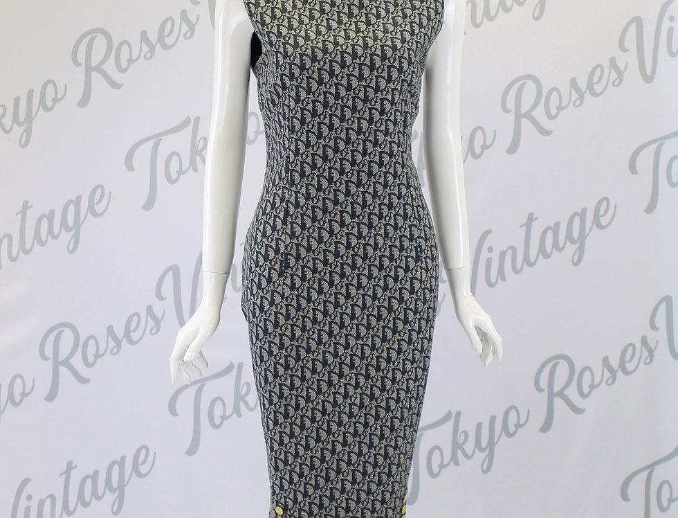 Vintage Denim Christian Dior Dress Oblique Trotter Monogram Logo Print Long