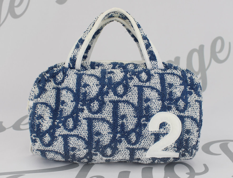 Dior Blue Terry Towel Boston Bag Monogram Trotter Print Handbag