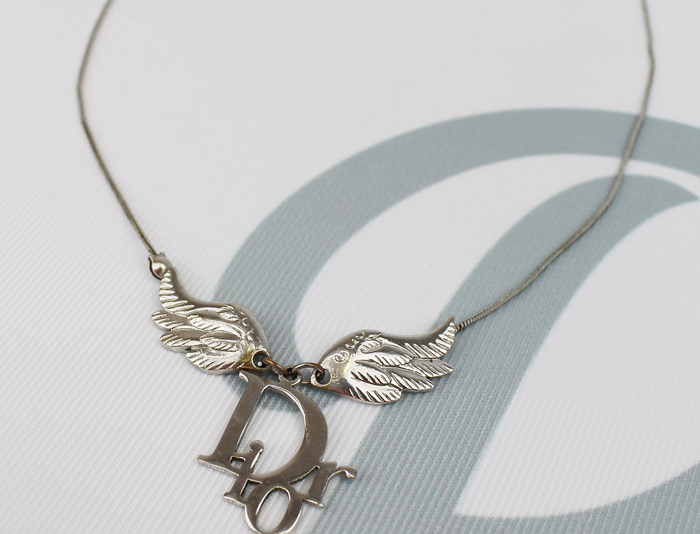 Vintage Dior Angel Wings Logo Necklace