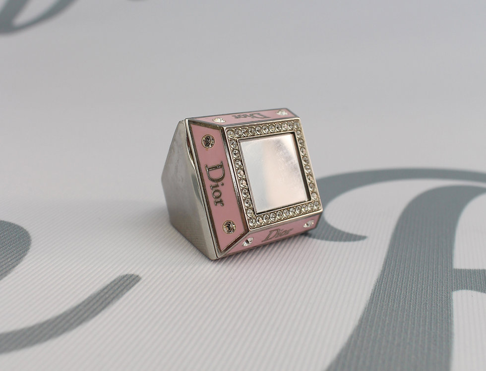 Christian Dior Mirror Compartment Ring 2000s Pink