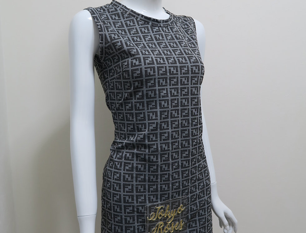 Fendi Sleveless FF Logo Print Dress Grey