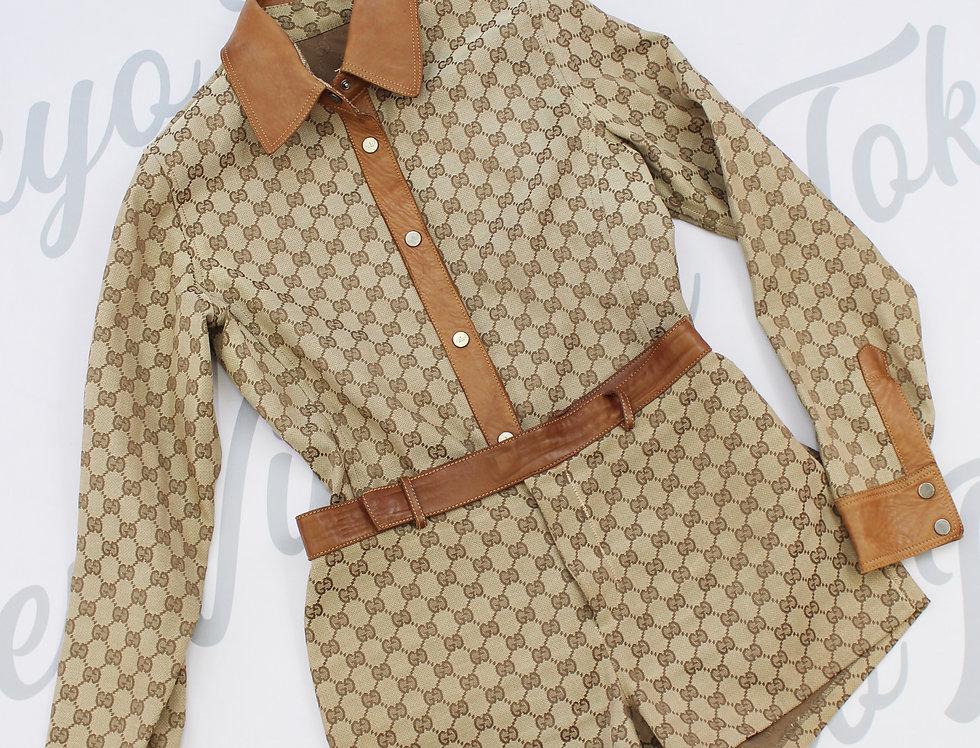Gucci SET Shirt & Shorts GG Logo Monogram Canvas