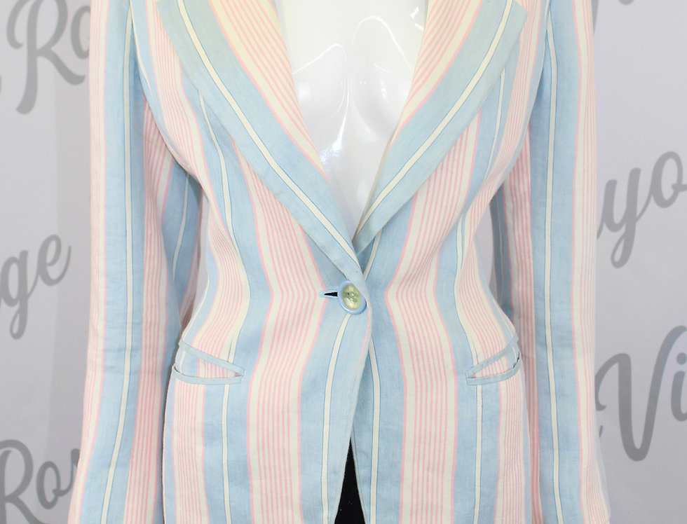 Christian Dior Pastel Stripe Suit Jacket Blue Pink