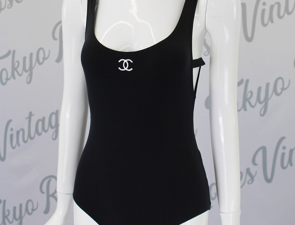 Chanel Black Bodysuit CC Logo Front