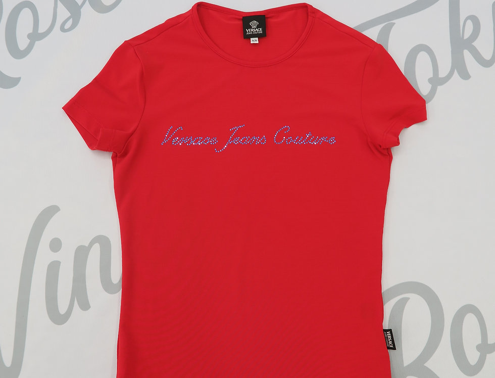 Versace Jeans Couture Red T Shirt Rhinestone Logo Bust Top